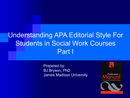 What is APA Style? - Department of Social Work