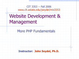 More PHP Fundamentals