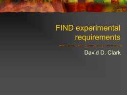 FIND experimental requirements