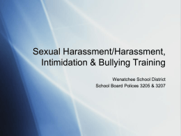 Sexual Harrassment/Harrassment, Intimidation and Bullying Training
