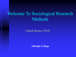 Research Methods Lecture #1 - Albright College Faculty and Staff Web
