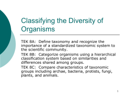 Classifying the Diversity of Organisms
