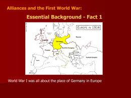 Alliances and WWI