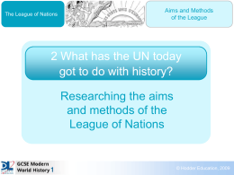 Worksheet: Researching the aims and methods of the League