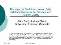 The Impact of Cash Incentives on Early Childhood Workforce