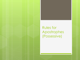 Rules for Apostrophes - St. Clairsville Home
