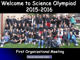 Powerpoint Covering Science Olympiad Events