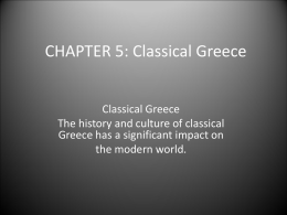 CHAPTER 5: Classical Greece - Mr. Hammond: Social Studies