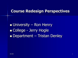 Course Redesign Perspectives University – Ron Henry College