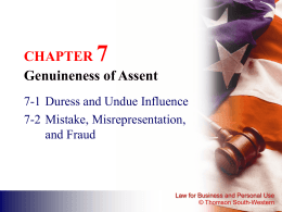 CHAPTER 7 Genuineness of Assent - SHS-BFM