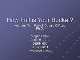 How Full is Your Bucket? - Megan Shaw`s E-Portfolio