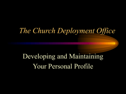 Personal Profile Workshop - The Episcopal Church, USA