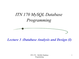 (I) ITN 170 MySQL Database Programming