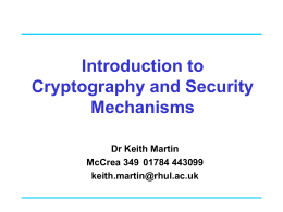 Cryptographic Services - Information Security Group
