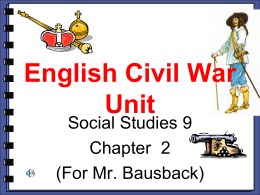The English Civil War Unit Outline