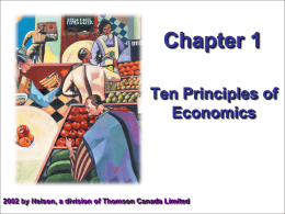 TEN PRINCIPLES OF ECONOMICS A household and an economy