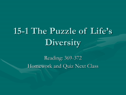 15-1 The Puzzle of Life`s Diversity