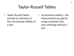 Taylor Russell Tables