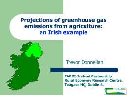 Projections of GHG emissions from agriculture Trevor
