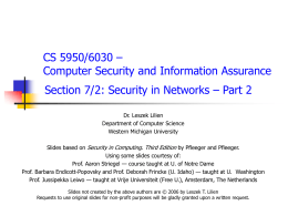 Security in Networks - Part 2 - Computer Science