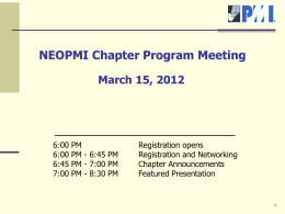 NEOPMI Chapter Program Meeting March 15, 2012