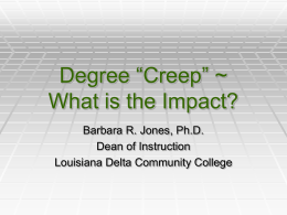 Degree Creep - National Network of Health Career Programs in Two