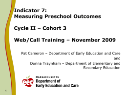 Measuring Preschool Outcomes Cycle II – Cohort 3