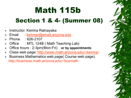 Math 115a – Section 2 - University of Arizona
