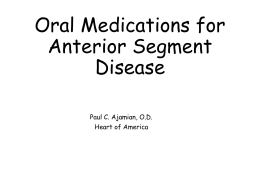 Oral Medications for anterior segment disease