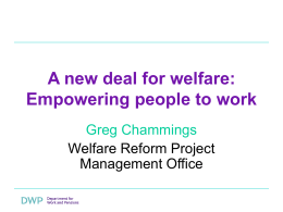 A new deal for welfare