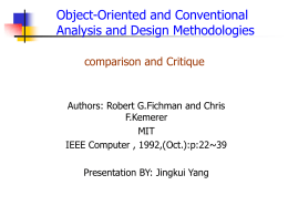 Object-Oriented and Conventional Analysis and Design