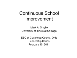 Continuous School Improvement - Educational Service Center of
