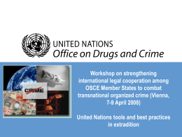 United Nations tools and best practices in extradition