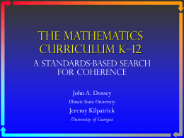 The Mathematics CurriculUM K-12
