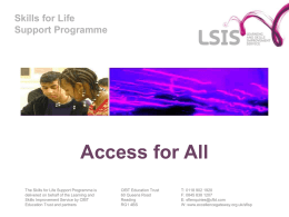 Skills for Life Support Programme