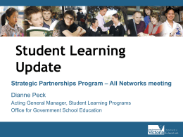 Student Learning Update Strategic Partnerships Program