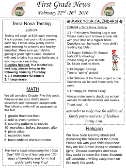 First Grade Newsletter Week 24
