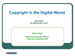 Copyright in the Digital World - Catholic Education Commission NSW