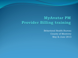 MyAvatar PM Provider Billing Training Powerpoint