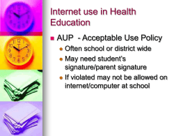 Internet use in Health Education