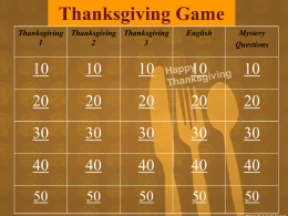 Thanksgiving Jeopardy Class 1