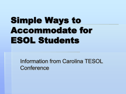 Simple Ways to Accommodate for ESOL Students