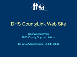 DHS CountyLink Web Site - Minnesota Department of Human Services