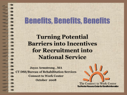 Benefits, Benefits, Benefits - National Service Inclusion Project