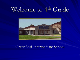 Welcome to 4th Grade - Greenfield