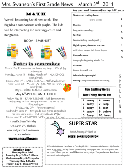 Mrs. Swanson`s First Grade News March 3 rd 2011 SUPER STAR