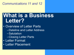 View this PPT on How to Format a Business Letter
