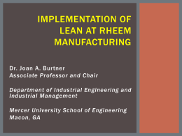 Implementation of Lean at Rheem Manufacturing