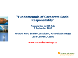 """Fundamentals of Corporate Social Responsibility"