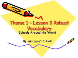 Theme 1 – Lesson 2 Robust Vocabulary